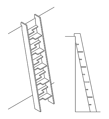 Loft Ladder with Alternating Treads