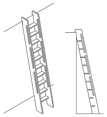 Loft Ladder with Routed Handles